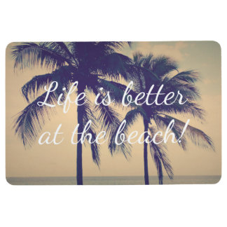 Life is better at the beach palm photo floor mat