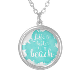 Life Is Better at the Beach Silver Plated Necklace