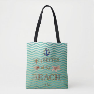 Life is BETTER at the BEACH Typography Monogram Tote Bag