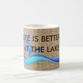 Life Is Better At The Lake Burlap Coffee Mug