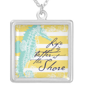 Life is Better at the Shore Silver Plated Necklace