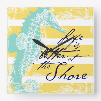 Life is Better at the Shore Square Wall Clock