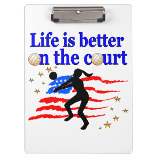 LIFE IS BETTER ON THE COURT USA VOLLEYBALL DESIGN CLIPBOARD