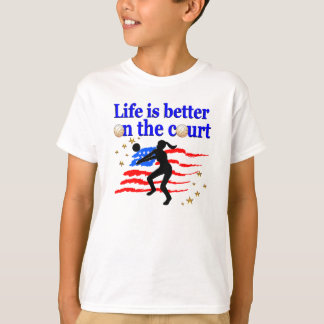 LIFE IS BETTER ON THE COURT USA VOLLEYBALL DESIGN TEE SHIRT