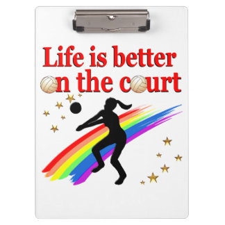 LIFE IS BETTER ON THE COURT VOLLEYBALL DESIGN CLIPBOARD