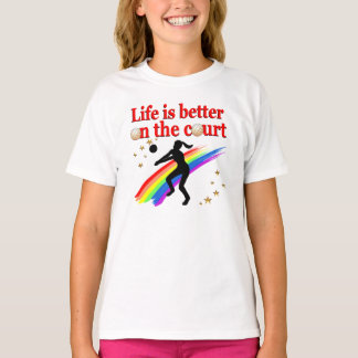 LIFE IS BETTER ON THE COURT VOLLEYBALL DESIGN T SHIRTS