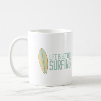 Life is better surfing! basic white mug