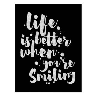 Life Is Better When Smiling - Inspirational Card Postcard