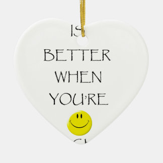 life is better when you're laughing ceramic heart decoration