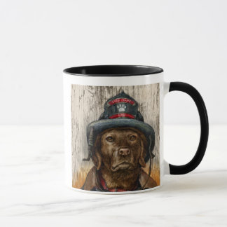 """""""Life is Better With a Firefighter"""" Chocolate Lab Mug"""