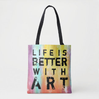 Life Is Better With Art Colourful Background Tote Bag