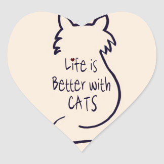 Life is Better with Cats Heart Sticker