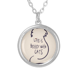 Life is Better with Cats Silver Plated Necklace