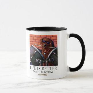 Life Is Better With Rhythm - Chocolate Lab Drummer Mug