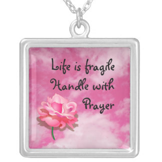 Life is fragile square pendant necklace