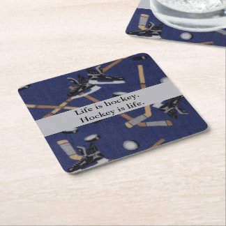 Life is Hockey Square Paper Coaster