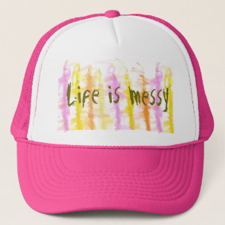 Life is messy Abstract Dripping Paint Stripes Trucker Hat