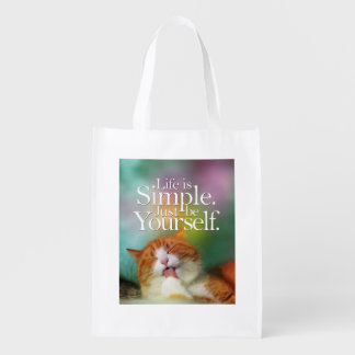 Life Is Simple Be Yourself Cat Inspirational Quote Market Tote