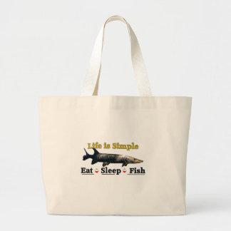 Life is Simple eat sleep fish Large Tote Bag