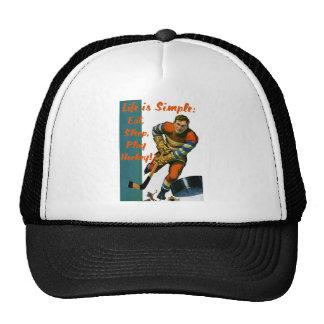 Life is Simple Eat Sleep Play Hockey Trucker Hats
