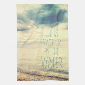 Life Is Sweeter Beach Scene Tea Towel