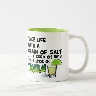 Life, Lime, Salt, TEQUILA! Cocktail Humor Two-Tone Coffee Mug