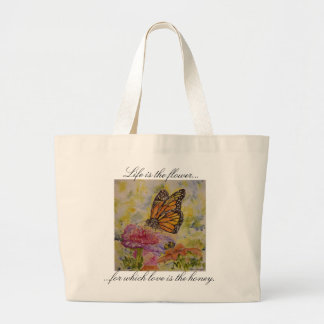 Life Love Quote Butterfly Art Jumbo Tote Bag