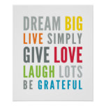 LIFE MANTRA positive cool typography bright colors Posters