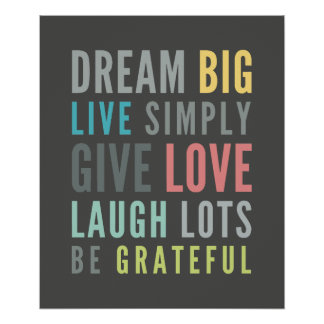 LIFE MANTRA positive cool typography pastel colors Poster