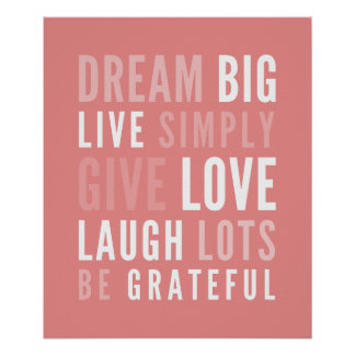 LIFE MANTRA positive modern typography bold coral Poster