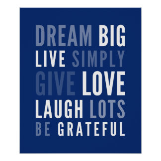 LIFE MANTRA positive modern typography dark blue Posters