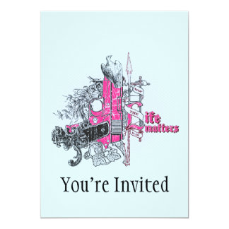 Life Matters Stop War Gun Grunge 13 Cm X 18 Cm Invitation Card