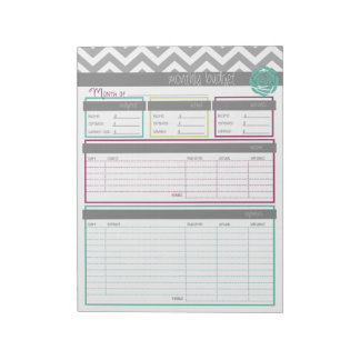 Life. More Organized.  Monthly Budget Notepad