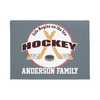 Life on Ice Hockey Sticks and Puck Family Name Doormat