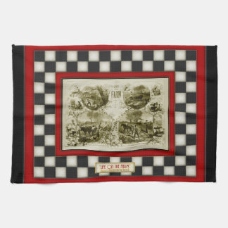 Life on the Farm Country Checkerboard Tea Towel