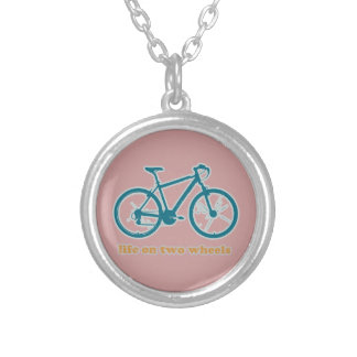 life on wheels - bikes silver plated necklace