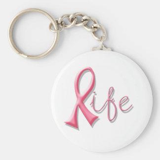 Life Pink Ribbon Basic Round Button Key Ring
