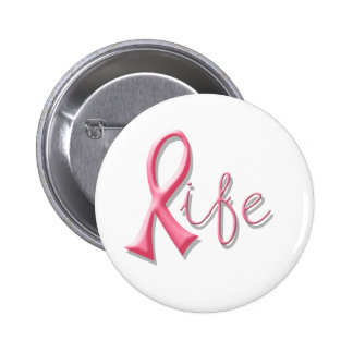 Life Pink Ribbon Button