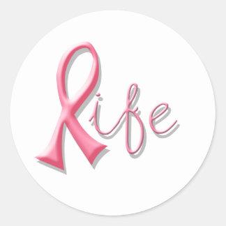 Life Pink Ribbon Round Sticker