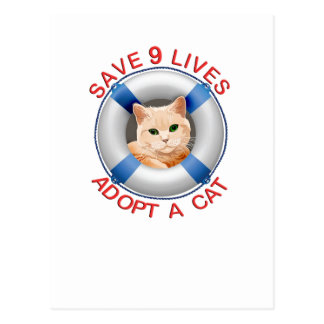Life Preserver with Cat Adoption Postcard