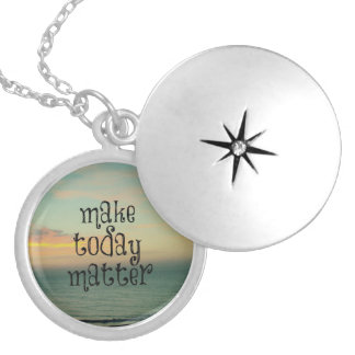 Life Quote Affirmation; Make Today Matter Silver Plated Necklace