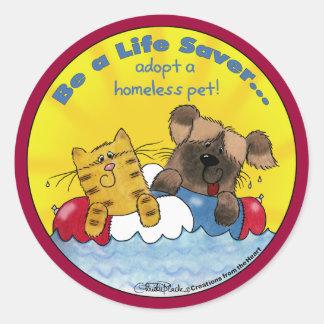 Life Saver Adopt Homeless Pets Round Sticker