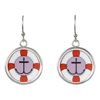Life Saver and Anchor Boating Earrings