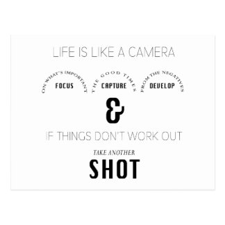 Life Shot Photographer Camera Phrase Postcard