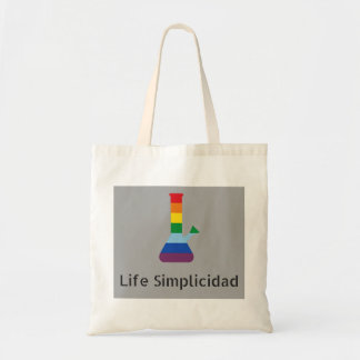 Life Simplicidad Rainbow Bong Black Text Tote Bag