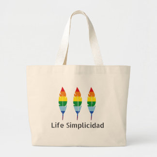 Life Simplicidad Rainbow Feathers Large Tote Bag