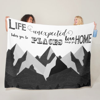 Life Takes You Inspirational Quotes Fleece Blanket