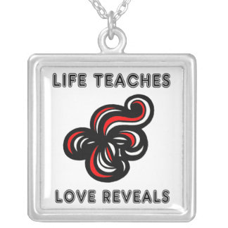 """""""Life Teaches, Love Reveals"""" Sterling Silver Neckl Silver Plated Necklace"""