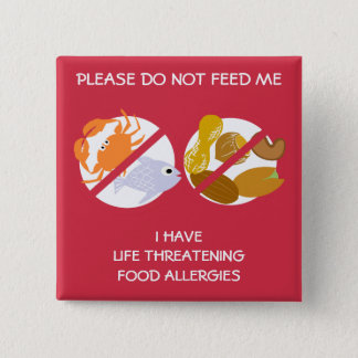 Life Threatening Fish and Nuts Allergy Pin, 15 Cm Square Badge