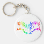 Life without Music would B Flat Humour Quote Basic Round Button Key Ring